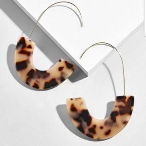 Leopard Tortoise Acrylic Crescent Dangle Earrings